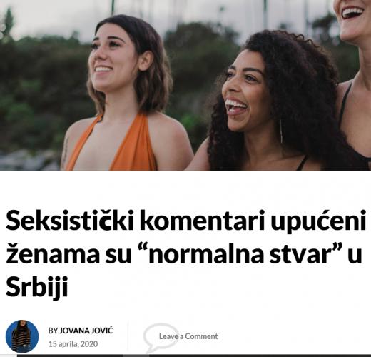 """Seksistički komentari upućeni ženama su """"normalna stvar"""" u Srbiji"""